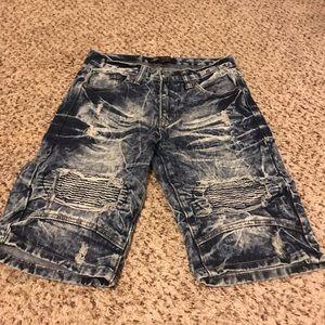 Boys Distressed Acid Washed Denim Shorts